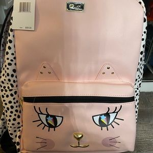 NWT Betsey Johnson Leather Backpack Cat Leopard